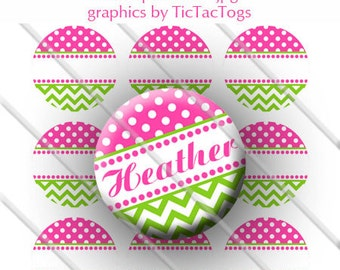 Editable Pink Polka dot Green Chevron Bottle Cap Images Digital Set 1 Inch Circle 4x6 JPEG - Instant Download - BC287