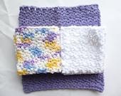 CLOSING SHOP SALE: Crocheted Purple & White Dish Cloth Set