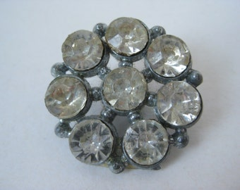 Rhinestone Flower Button Silver Vintage Clear