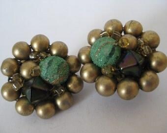 Gold Green Black Cluster Earrings Clip Vintage