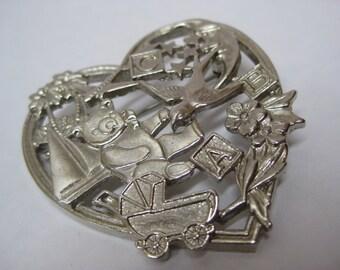 Silver Heart Baby A B C Brooch Bear Bird Vintage Pin
