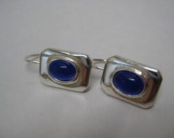Silver Blue Earrings Pierced Wire