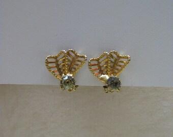 Green Gold Earrings Clip Rhinestone Vintage