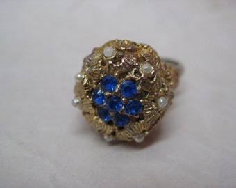 Chunky Blue Rhinestone Ring Gold Pearl Vintage Adjustable