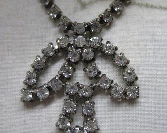 Rhinestone Clear Necklace Silver Vintage Choker