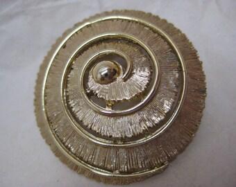 Gold Spiral Circle Brooch Vintage Pin Round
