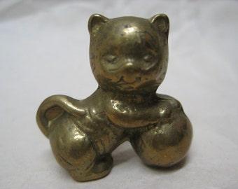 Cat Kitten Figurine Miniature Brass Vintage Metal