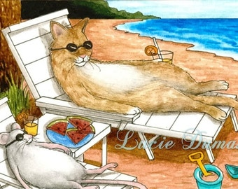 Art print 5x7 Cat 374 mouse from funny beach painting by Lucie Dumas