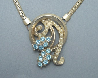 Retro Rhinestone Pendant Vintage Necklace N5594