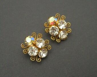 Rhinestone Earrings Vintage Jewelry