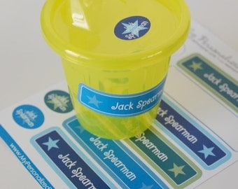 stars personalized dishwasher safe labels, 24 stickers