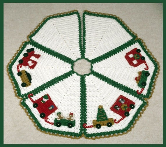 Easy Crochet Christmas Tree Skirt: Items Similar To 0732 North Pole Express Tree Skirt