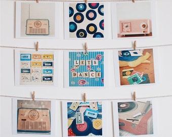 Music Art, Still Life Photo, Retro Wall Art, Gift for Music Lover, Vintage Radio, Vinyl, Home decor, Set of Nine Mini Prints - Let's Dance