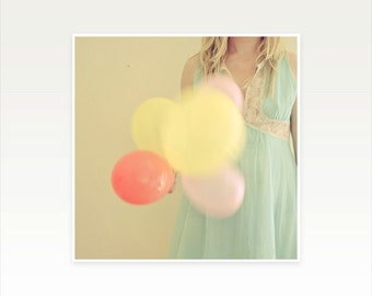 Figure Photograph, Female Portrait With Balloons, Duck Egg Blue and Yellow - Far Away