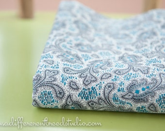 Paisley in Gray - New Old Stock Vintage Fabric Mod 50s 36 in wide Grey