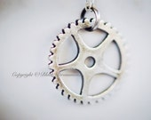Steampunk Gear Necklace No. 1 - Sterling Silver Mechanical Cut Out Charm Pendant  - Free Domestic Shipping