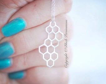 Honeycomb Necklace - Sterling Silver Hexagons Auspicious Feng Shui Pendant -  Insurance Included