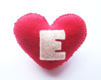 SUPER CUTE PROMO : Handmade Felt Love Heart Brooch - Letter E - assorted colours
