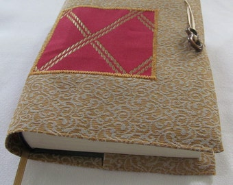 Red Gold Lattice Gold Jacquard Fabric Book Cover