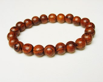 Rosewood Bracelet for Women / Brown Wood Bracelet / Natural / Wood / Simple / Stacking Bracelet / Wood Beaded Bracelet / Lightweight / Brown