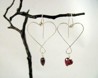 Sterling Silver and Garnet Heart Dangle Earrings RKS454