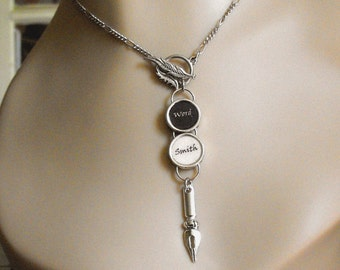 Wordsmith Writers Pen Nib Necklace Silvertoned