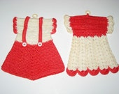 2 Vintage (1950s) Crocheted Red and White Doll Clothes Pot Holders.