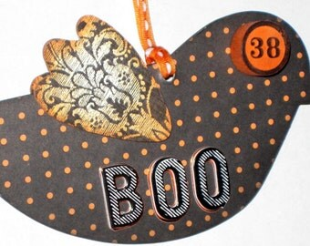 Halloween Chipboard Bird Ornament - Boo