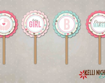 Pink & Light Turquoise Baby Girl Shower Cupcake Toppers #12