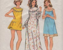 Simplicity 5030 1970s Misses Baby Doll Pajamas Nightgown Pattern Womens Vintage Sewing Pattern Size Medium Bust 34 36