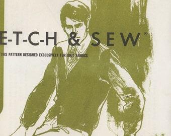 Stretch & Sew 500 1960s Mens ALPACA CARDIGAN Pattern Stretch Knit Sweater Mans Vintage  Sewing Pattern Chest 38 40 42 44  UNCUT