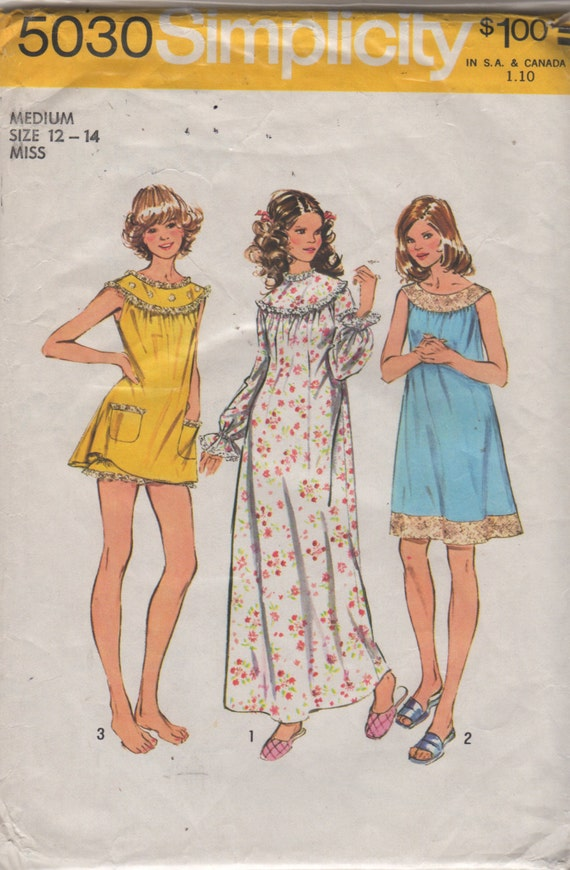 Simplicity 5030 1970s Misses Baby Doll Pajamas Nightgown Pattern Womens Vintage Sewing Pattern Size Medium Bust 34 36 OR Small Bust 31 32