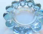 Vintage Iridescent Sky Blue 1950s 50's Candlewick Boopie Ball Beaded Glass Ashtray by Anchor Hocking Imperial