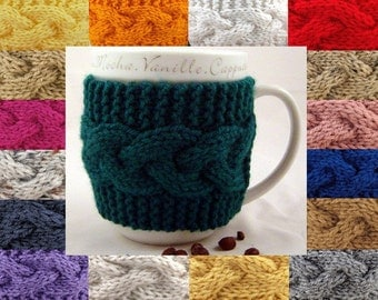 Custom Hand Knit Coffee Mug Cozy Your Choice Of Over 60 Colors