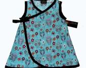 On SALE Owl Dress - Wrap Dress - Kimono Dress - Toddler Dress - Blue Dress - Bird Dress - Girls Dress  - 2T