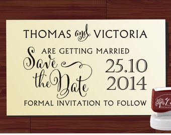 SAVE THE DATE modern design Calligraphy Handwriting Script font self inking stamp -style 6060  - custom wedding stationary