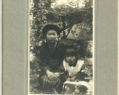 Antique Cabinet Card Photo Japanese Woman And Her Little Girl In Woods Vintage Cabinet Photograph