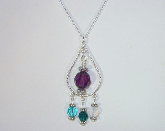 Sterling Silver Teardrop Necklace with 4 Swarovski Crystal Birthstones - Mothers, Grandmothers