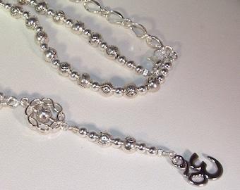 "Pewter Evil Eye & Rhodium Om Rosary Necklace - Silver Pewter Evil Eye Beads - 18"""