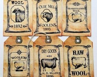 Primitive Sheeps Wool Feedsack Gift or Scrapbook Tags #T 4
