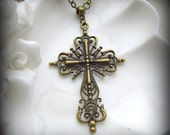 Large Ornate Cross Necklace in Antique Brass Finish  on Vintage Pearl Chain