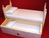 """Stackable Trundle Bed with Mattresses and Pillows Drawer Storage 18"""" American Girl Doll Furniture"""