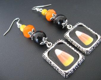 Halloween Candy Corn Earrings Jewelry, Altered Art Earrings, Picture Earrings