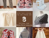 You choose any 8 patterns (crochet and knitting patterns)