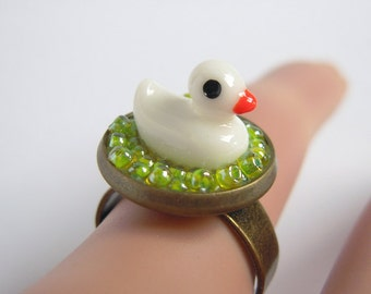Cute White Duck Ring, Green Glass Seed Beads, Duck In Pool, Adjustable Ring Size, Miniature Jewelry, Gift For Her