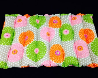 Lumbar Corn Bag Microwave Heating Pad Large Heat Pack Corn Pillow - Orange Pink Lime Taupe Floral
