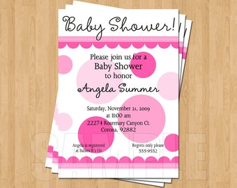 All Things Pink Polka Dot Baby Shower Invitations JPEG Cute Unique