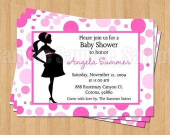 Mod Mom Pink Polka Dot Sweet Baby Shower Invitations JPEG Cute Simply Adorable