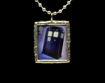 TARDIS Necklace Dr Who Royal Mail Postage Stamp Soldered Pendant - Free Shipping in US -