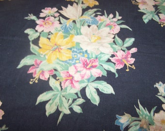 """price reduced Vintage 1930's Black Fabric with Floral Theme, 45"""" x 26"""", Perfect Condition, FREE SHIPPING"""